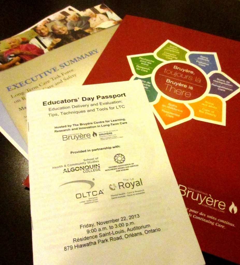Bruyère CLRI Educators' Day passport booklet and supplementary materials