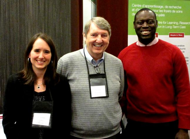 Melissa Donskov, Peter Walker, and SImon Akinsulie at the OLTCA Applied Research Day conference