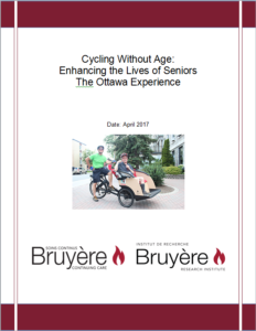 Image of brochure cover for Cycling Without Age, The Ottawa Experience, with the logos of Bruyere Research Institute and Bruyere Continuing Care