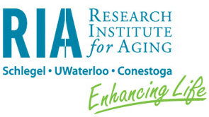 Teal and Lime Green logo of the Research Institute for Aging. Enhancing Life tagline.