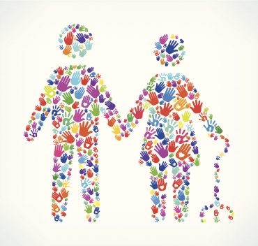 Colourful abstract image of an older couple holding hands. The illustration features colourful human hand prints that vary in size and color.