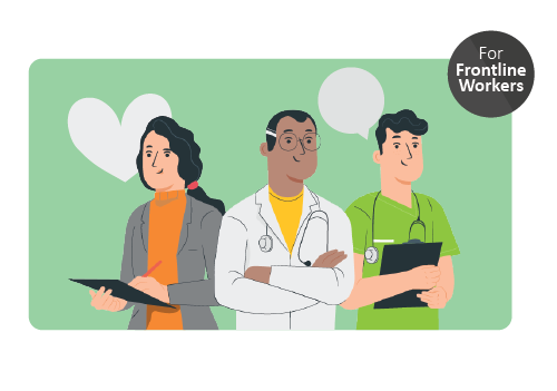 A group of three health care professionals. Icon in upper right corner indicating that this resource is created for front line workers in long term care homes.