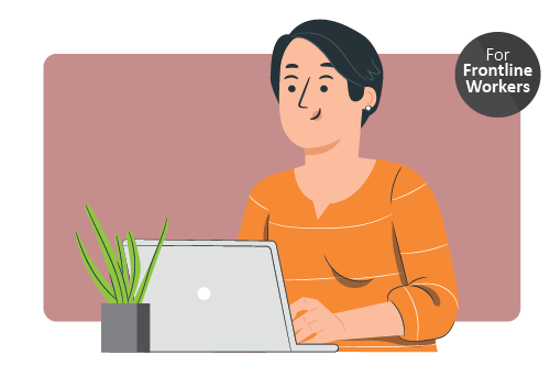 A woman using a computer. Icon in upper right corner indicating that this resource is created for front line workers in long term care homes.