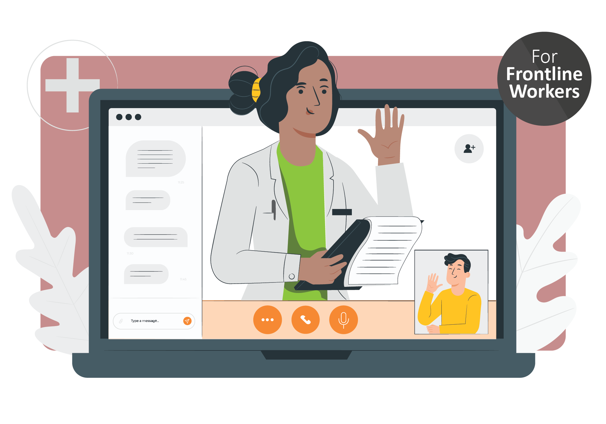 A doctor video chatting with a man on a computer. Icon in upper right corner indicating that this resource is created for front line workers in long term care homes.